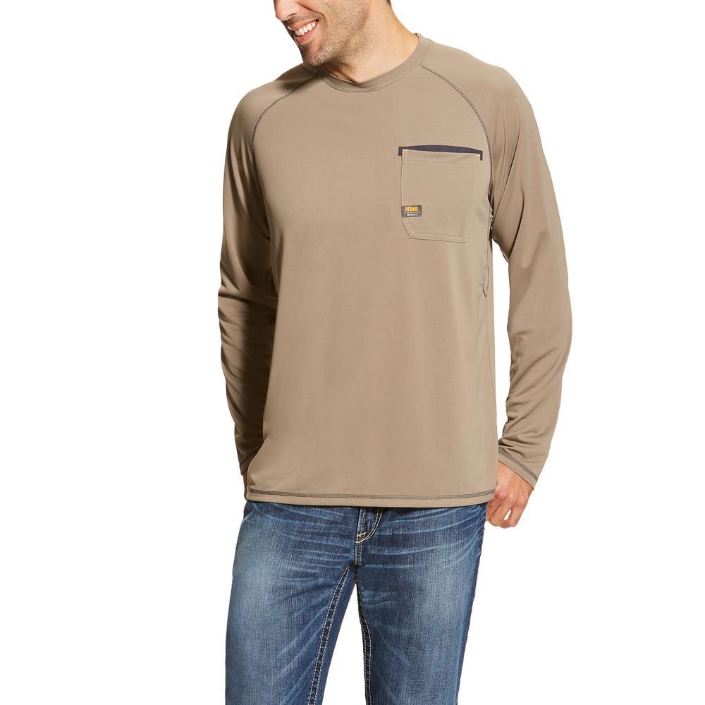 Ariat Men's Size X-Large Brindle Rebar Sunstopper Long Sleeve Work Shirt
