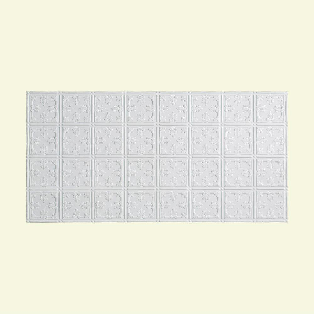 Fasade Traditional 10 PVC - 2 ft. x 4 ft. Glue-up Ceiling Tile in Gloss White