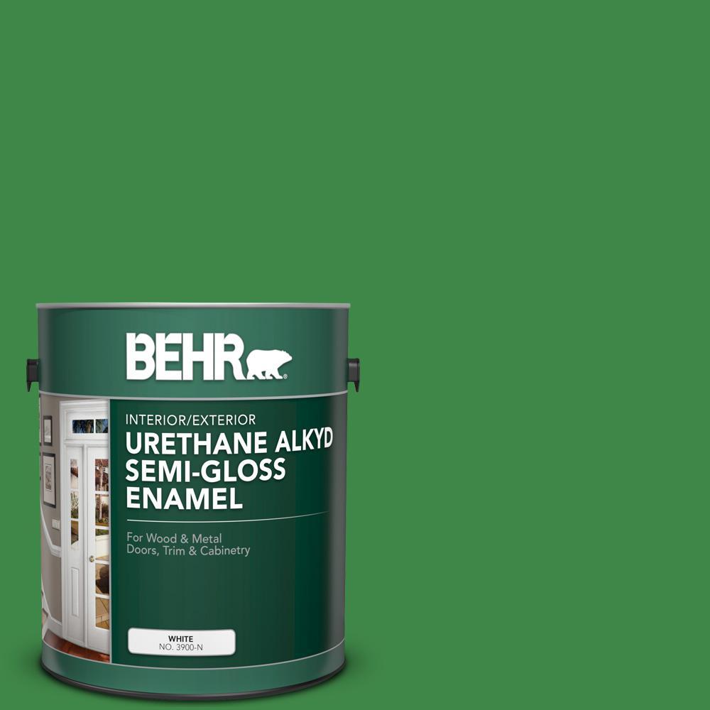 1 gal. #P400-7 Paradise of Greenery Urethane Alkyd Semi-Gloss Enamel Interior/Exterior Paint