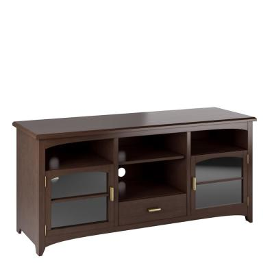 Carson 60 in. Dark Espresso Wood TV Stand Fits TVs Up to 70 in. with Storage Doors