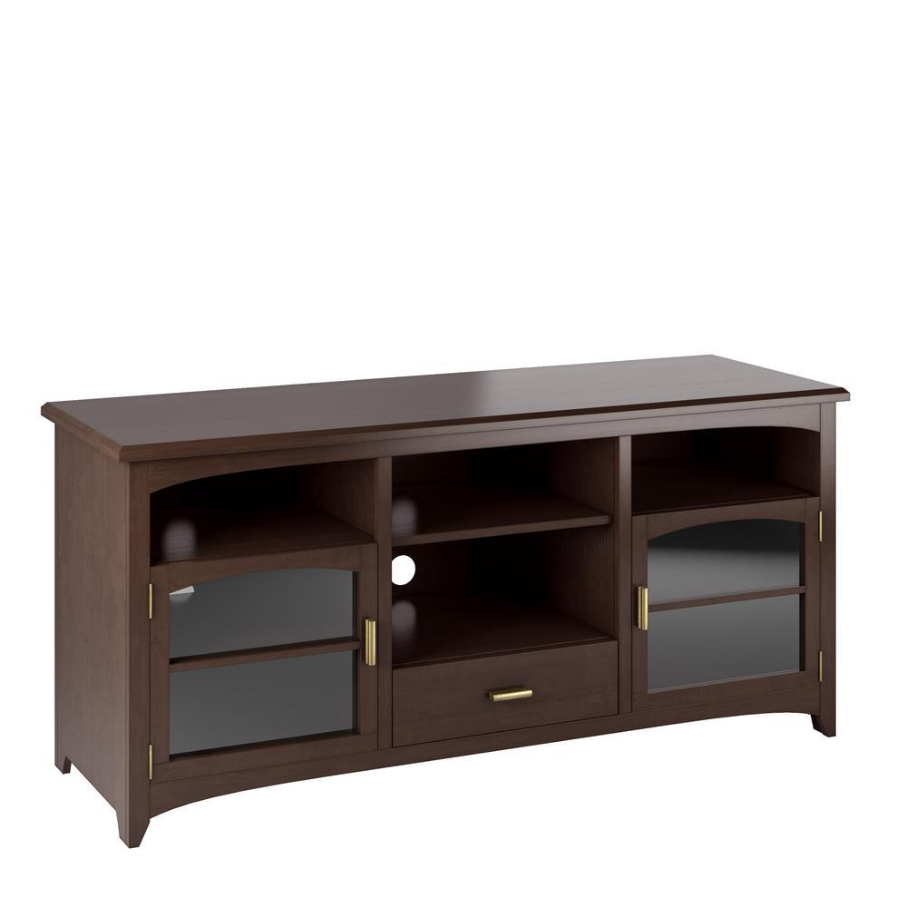 Carson Dark Espresso Wood Veneer TV Bench for TVs up to 70 in.