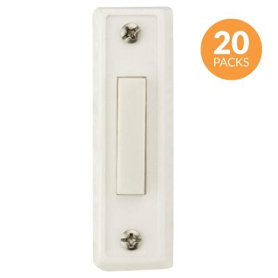 Rectangular Unlighted Wired Doorbell Push Button, White (20-Pack)