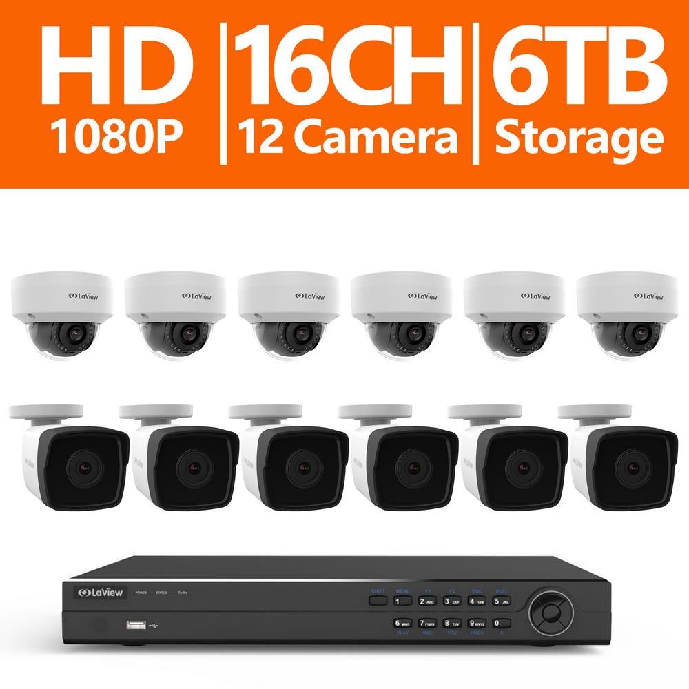 16-Channel 1080p HD 6TB NVR Surveillance System (6) 1080p Bullet and