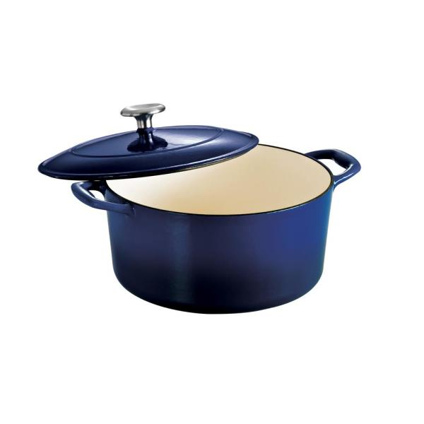 Gourmet 5.5 qt. Round Enameled Cast Iron Dutch Oven in Gradated Cobalt with Lid