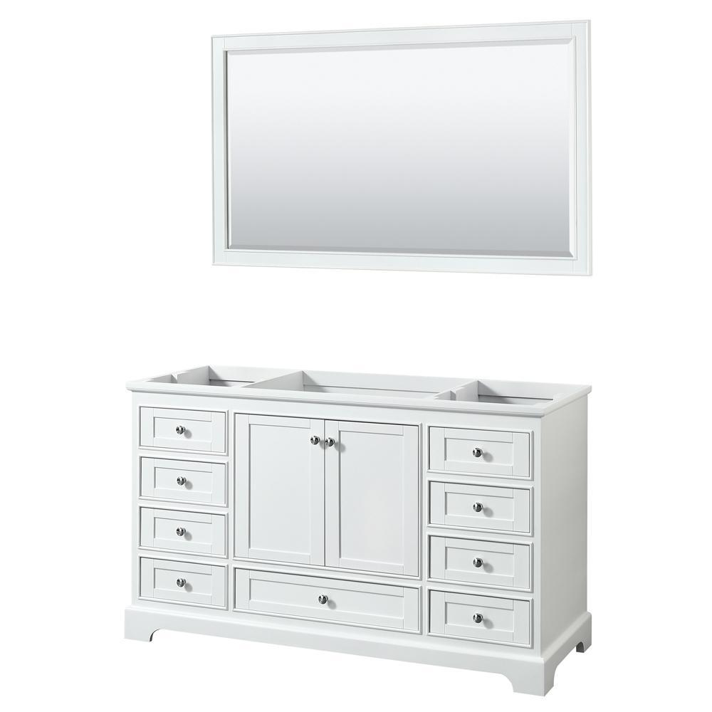 Deborah 59.25 in. W x 21.5 in. D Vanity Cabinet with 58 in. Mirror in White