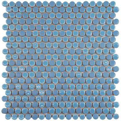 Comet Penny Round Sky 11-1/4 in. x 11-3/4 in. x 9 mm Porcelain Mosaic Tile