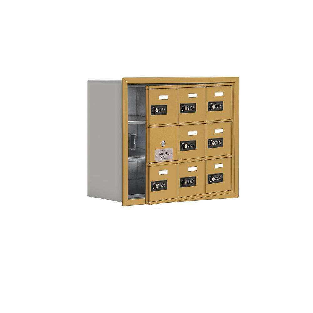 19100 Series 22.75 in. W x 18.75 in. H x 8.75 in. D 8 Doors Cell Phone Locker Recess Mount Resettable Lock in Gold