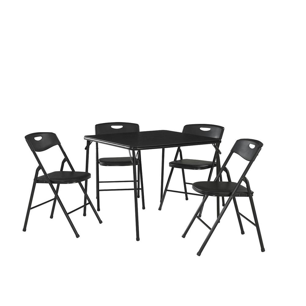 Cosco 5-Piece Black Folding Table and Chair Set  sc 1 st  The Home Depot & Cosco 5-Piece Black Folding Table and Chair Set-37-557BLK9 - The ...