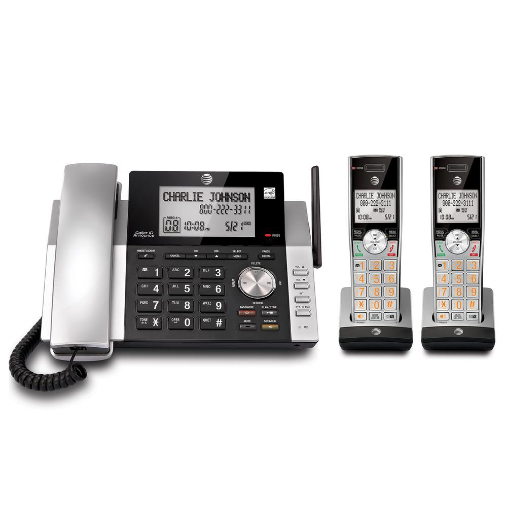 At And T Dect 6 0 Expandable Cordless Phone With Answering System And Caller Id Silver Black With 2 Handsets Cl84215 The Home Depot