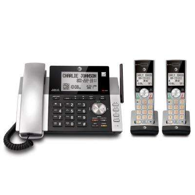 DECT 6.0 Expandable Cordless Phone with Answering System and Caller ID, Silver/Black with 2 Handsets