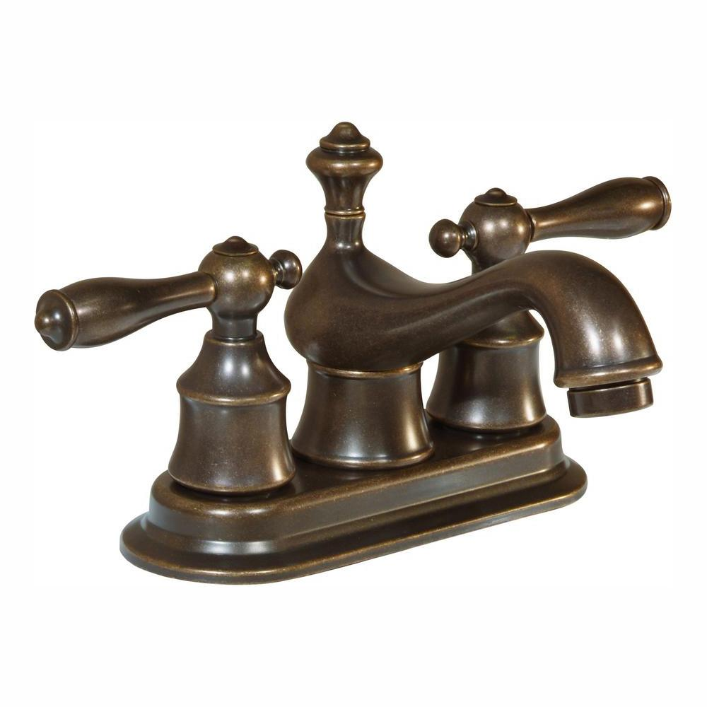 Glacier Bay Estates 4 in. Centerset 2-Handle Low-Arc Bathroom Faucet with Pop-Up Assembly in Heritage Bronze