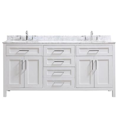 Riverdale 72 in. W x 21 in. D Vanity in White with a Carrara Marble Vanity Top in White with White Sink