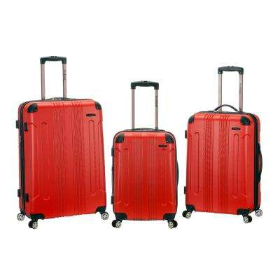 Rockland Sonic 3-Piece Hardside Spinner Luggage Set, Red