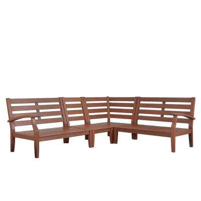 Verdon Gorge Brown 3-Piece Oiled Wood Outdoor Sectional