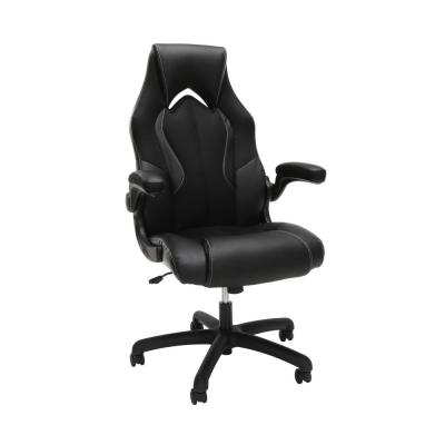 Essentials Collection Black High-Back Racing Style Bonded Leather Gaming Chair (ESS-3086-BLK)
