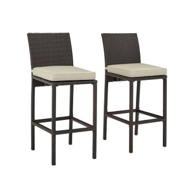 Palm Harbor Wicker Outdoor Bar Stool Set Of 2 With Sand Cushion