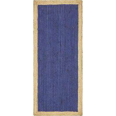 Braided Jute Goa Navy Blue 2' 6 x 6' 0 Runner Rug