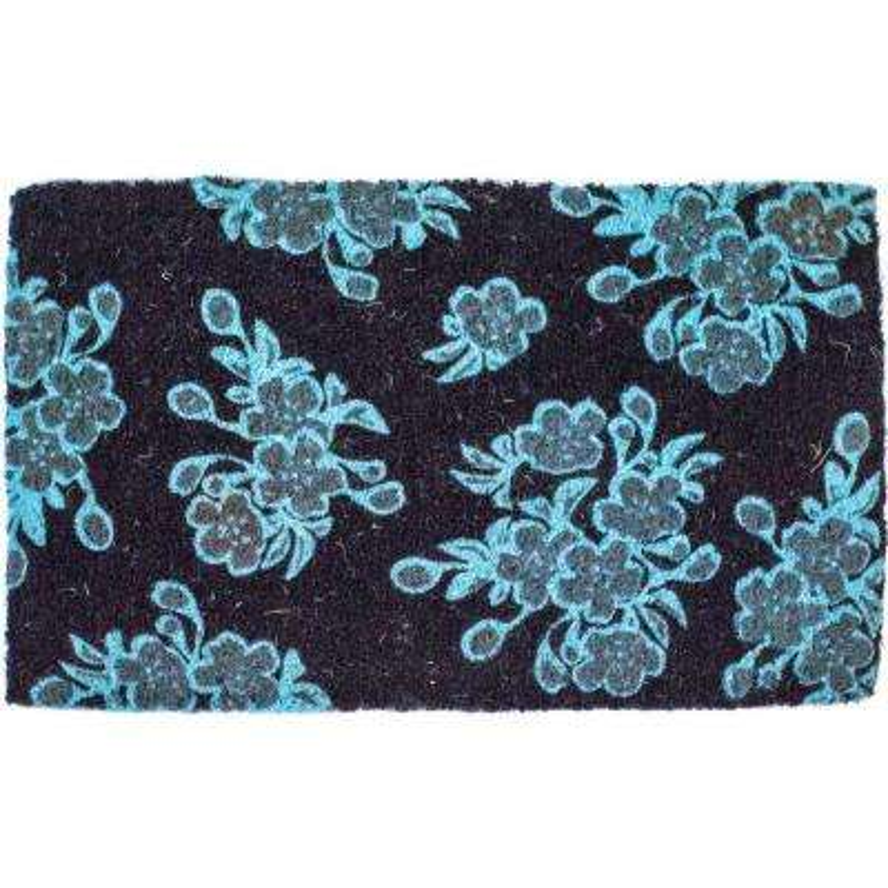 Aqua Floral 18 in. x 30 in. Hand Woven Coconut Fiber Door Mat