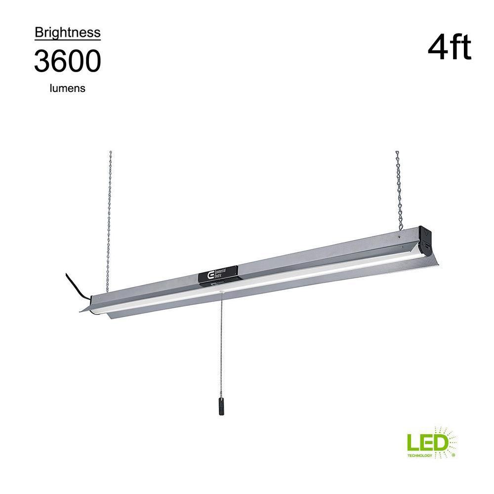 Commercial Led Shop Lights: Commercial Electric 4000K 4 Ft. Brushed Nickel Integrated