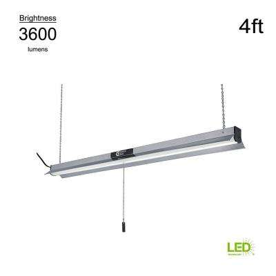 4000K 4 ft. Brushed Nickel Integrated LED Linkable Shop Light Pro (with 5 ft. linking cord)