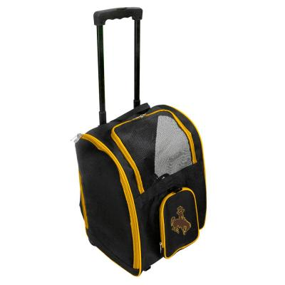 Denco NCAA Wyoming Cowboys Pet Carrier Premium Bag with wheels in Yellow, Team Color