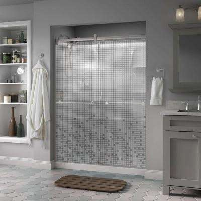 Lyndall 60 in. x 71 in. Semi-Frameless Contemporary Sliding Shower Door in Nickel with Mozaic Glass