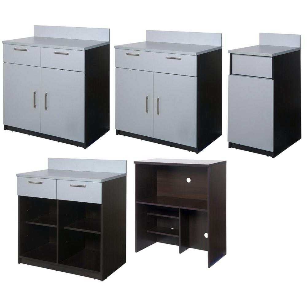 Coffee Kitchen Espresso / Silver Sideboard with Lunch Break Room Functionality