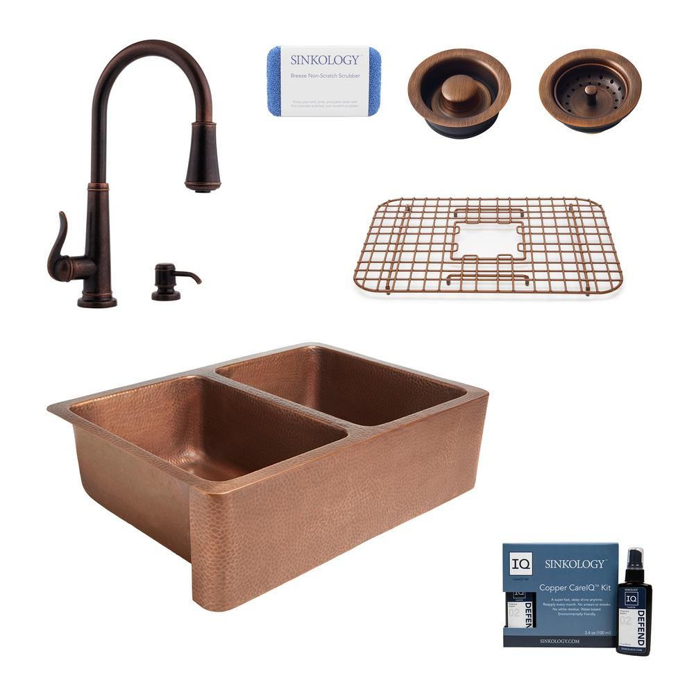 SINKOLOGY Rockwell All-in-One Farmhouse Apron-Front Copper 33 in. 50/50 Double Bowl Kitchen Sink with Pfister Faucet and Drains