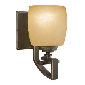 Hampton Bay 1-Light Bronze Sconce with Scavo Glass Shade by Hampton Bay