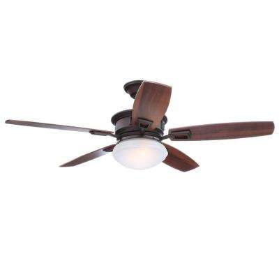 Lazerro II 52 in. Indoor Oil-Rubbed Bronze Ceiling Fan with Light Kit and Remote Control