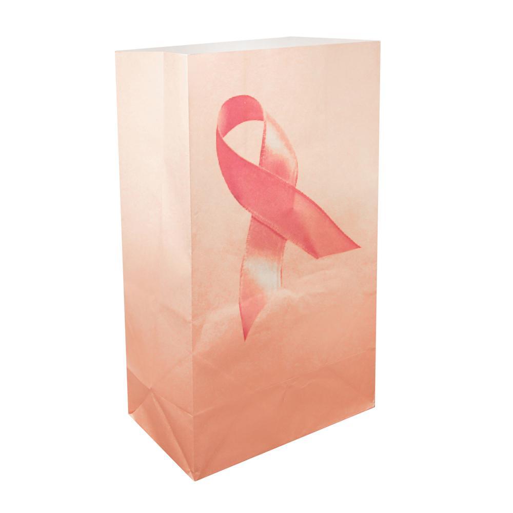 Pink Ribbon Flame Resistant Luminaria Bags (Set of 12)