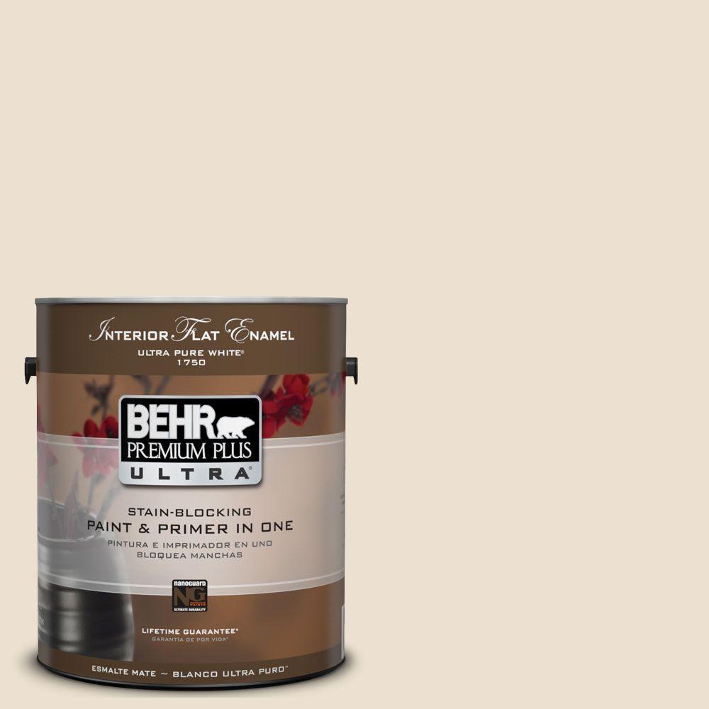BEHR Premium Plus Ultra 1-Gal. #UL160-12 Ivory Lace Interior Flat Enamel Paint