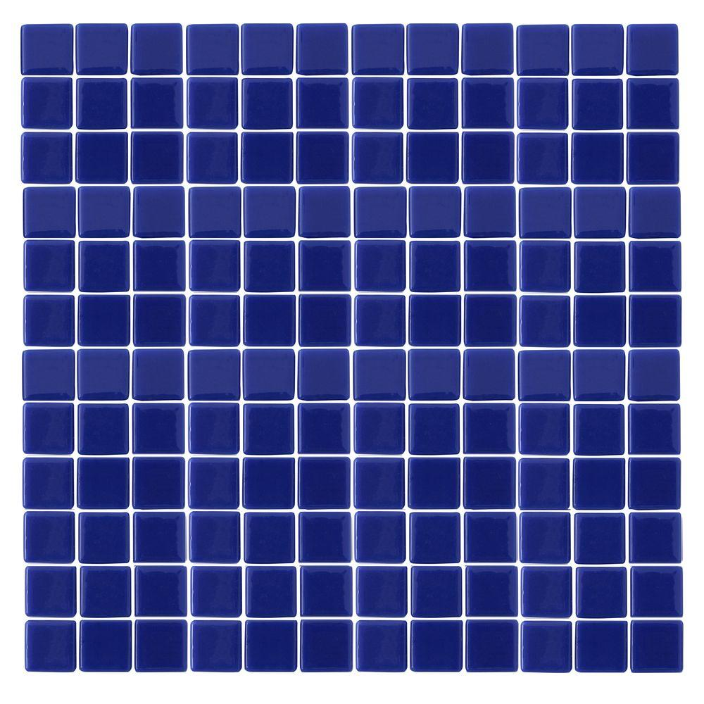 Excellent MSI Opaque Blue 12 in. x 12 in. x 4 mm Glass Mesh-Mounted Mosaic  RT49