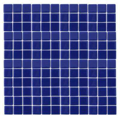 Monoz M-Blue-1402 Mosiac Recycled Glass Mesh Mounted Floor and Wall Tile - 3 in. x 3 in. Tile Sample