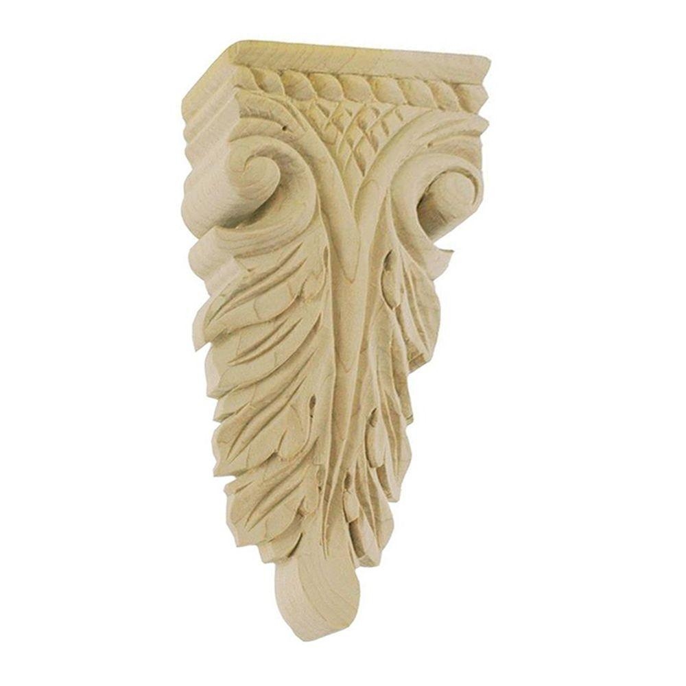 American Pro Decor 5-7/8 in. x 2-1/2 in. x 7/8 in. Unfinished Hand Carved North American Solid Hard Maple Wood Onlay Acanthus Wood Applique