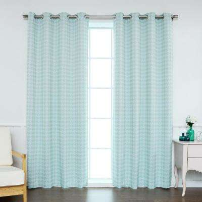 84 in. L Polyester Classic Houndstooth Room Darkening Curtains in Mint (2-Pack)