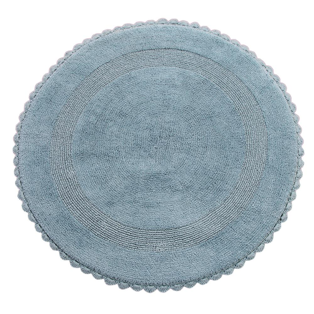 Crochet Lace 36 in. Round Cotton Reversible Arctic Blue Hand Knitted