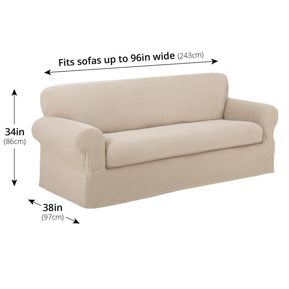 Maytex Reeves Stretch 2-Piece Natural Sofa Slipcover ...