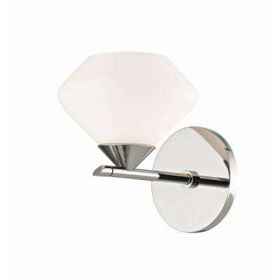 Valerie 1-Light Polished Nickel Bath Light with Opal Matte Glass Shade