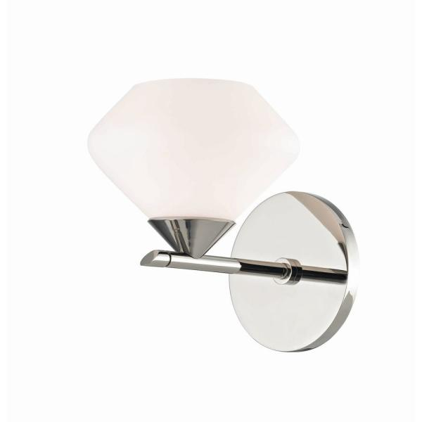 Mitzi By Hudson Valley Lighting Valerie 1 Light Polished Nickel Bath Light With Opal Matte Glass Shade H136301 Pn The Home Depot