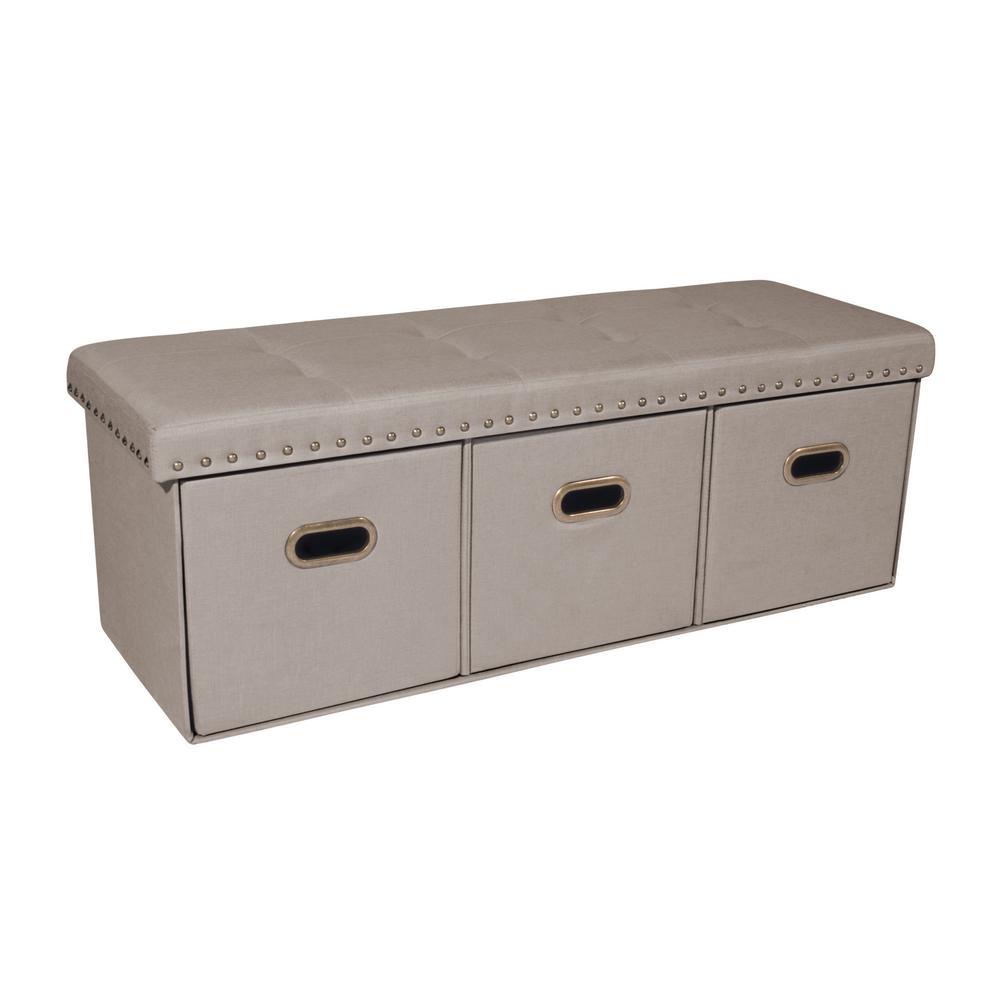 Payton Cream Upholstered Foldable Storage Bench Ottoman