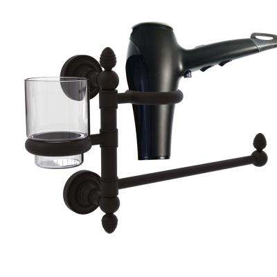 Dottingham Collection Hair Dryer Holder and Organizer in Polished Brass
