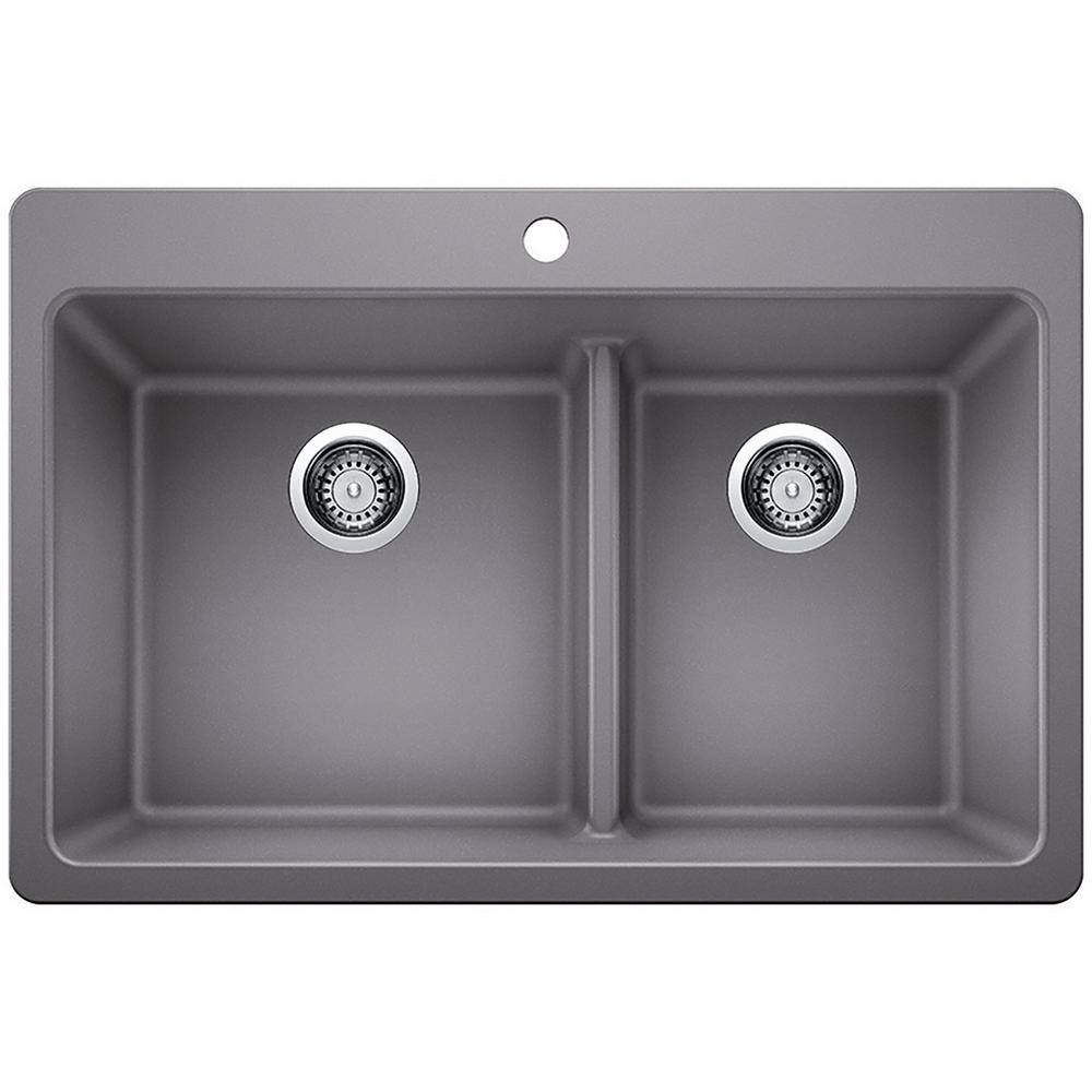 GlacierBay Glacier Bay Dual Mount Granite Composite 33 in. 1-Hole 60/40 Double Bowl Kitchen Sink with Low Divide in Gray