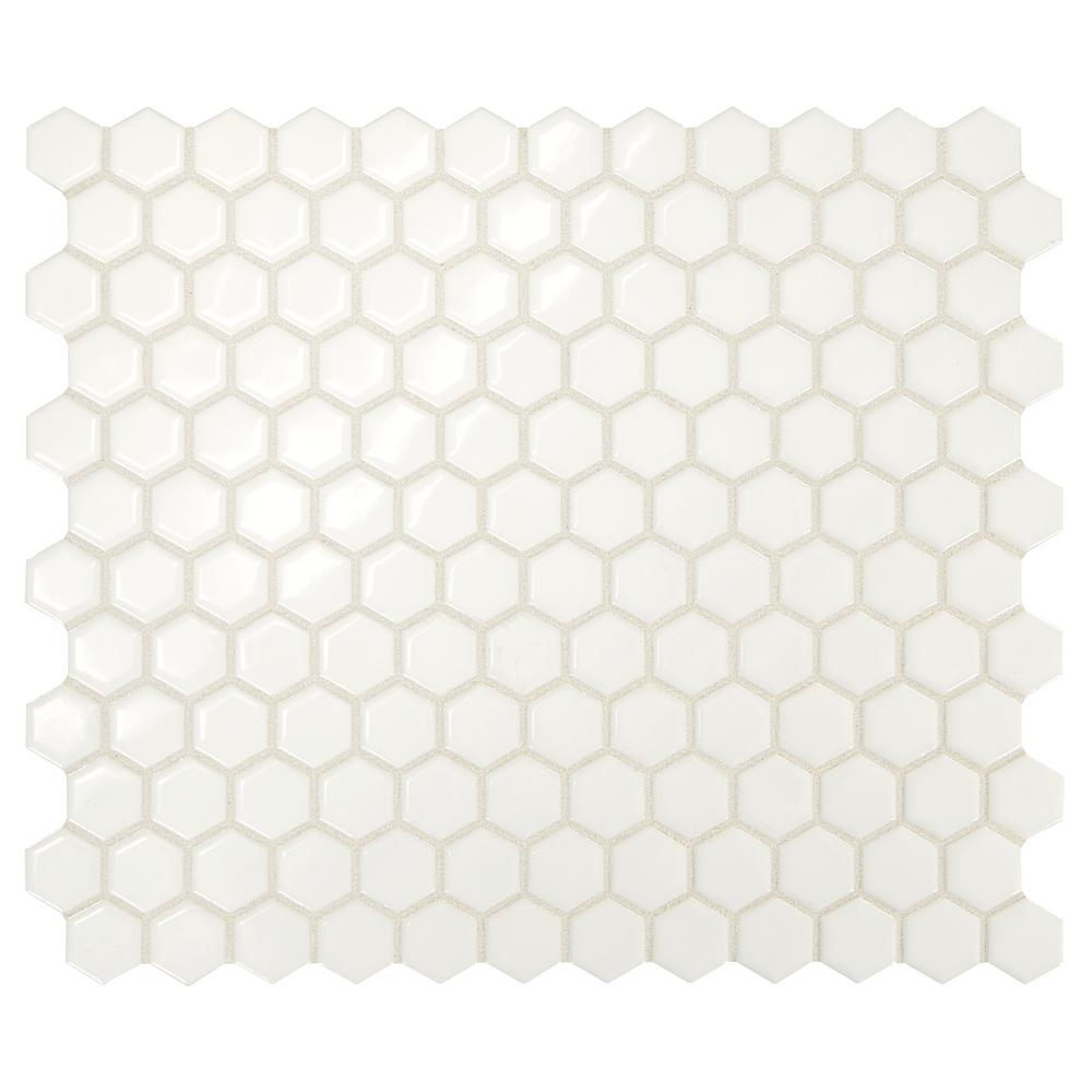Premier Accents Powder White Hexagon 10 in. x 12 in. x
