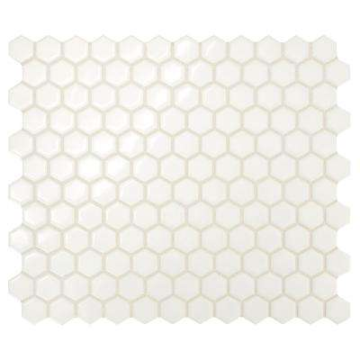 Premier Accents Powder White Hexagon 10 in. x 12 in. x 4 mm Porcelain Mosaic Tile