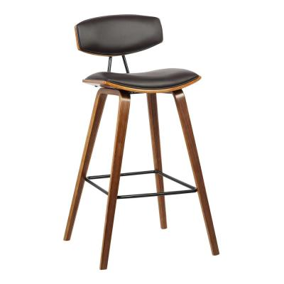 Fox 30 in. Mid-Century Bar Height Barstool in Brown Faux Leather with Walnut Wood