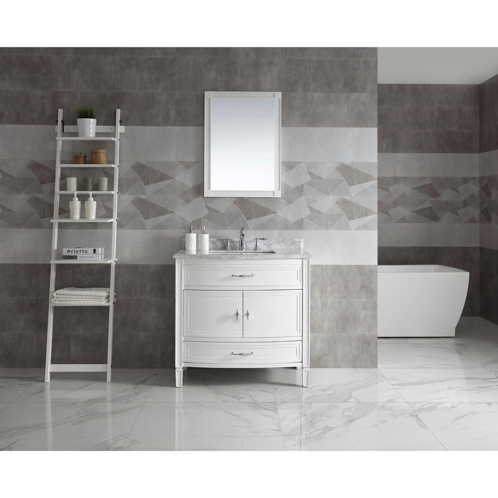 Dacosti 36 in. W x 22 in. D Vanity in White with Marble Vanity Top in White with White Sink