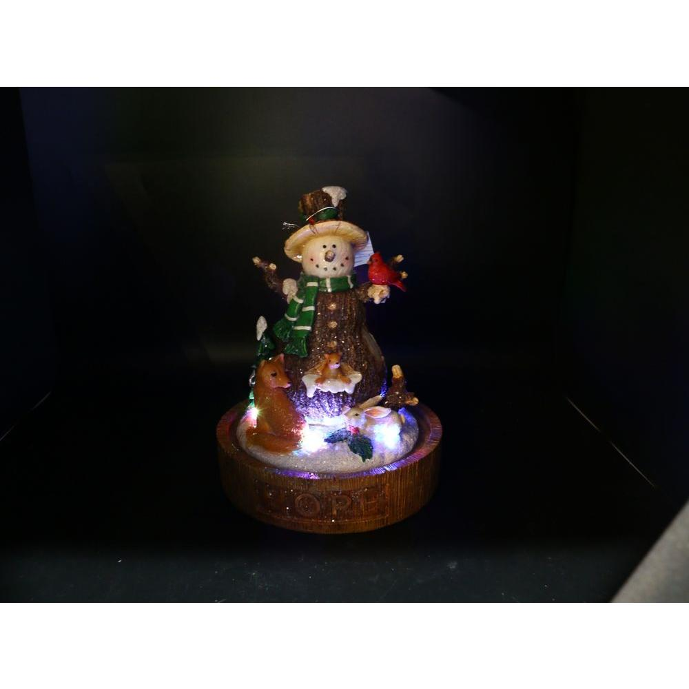 10 in. Polyresin 'Hope' Snowman Decor with 5 LED Lights