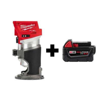 M18 FUEL 18-Volt Lithium-Ion Brushless Cordless Compact Router with Free M18 5.0 Ah Battery
