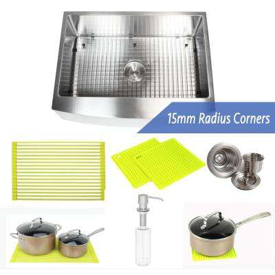 30 in. x 21 in. x 10 in. Premium 16-Gauge Stainless Steel Farmhouse Apron Single Bowl Kitchen Sink Combo W/ Accessories